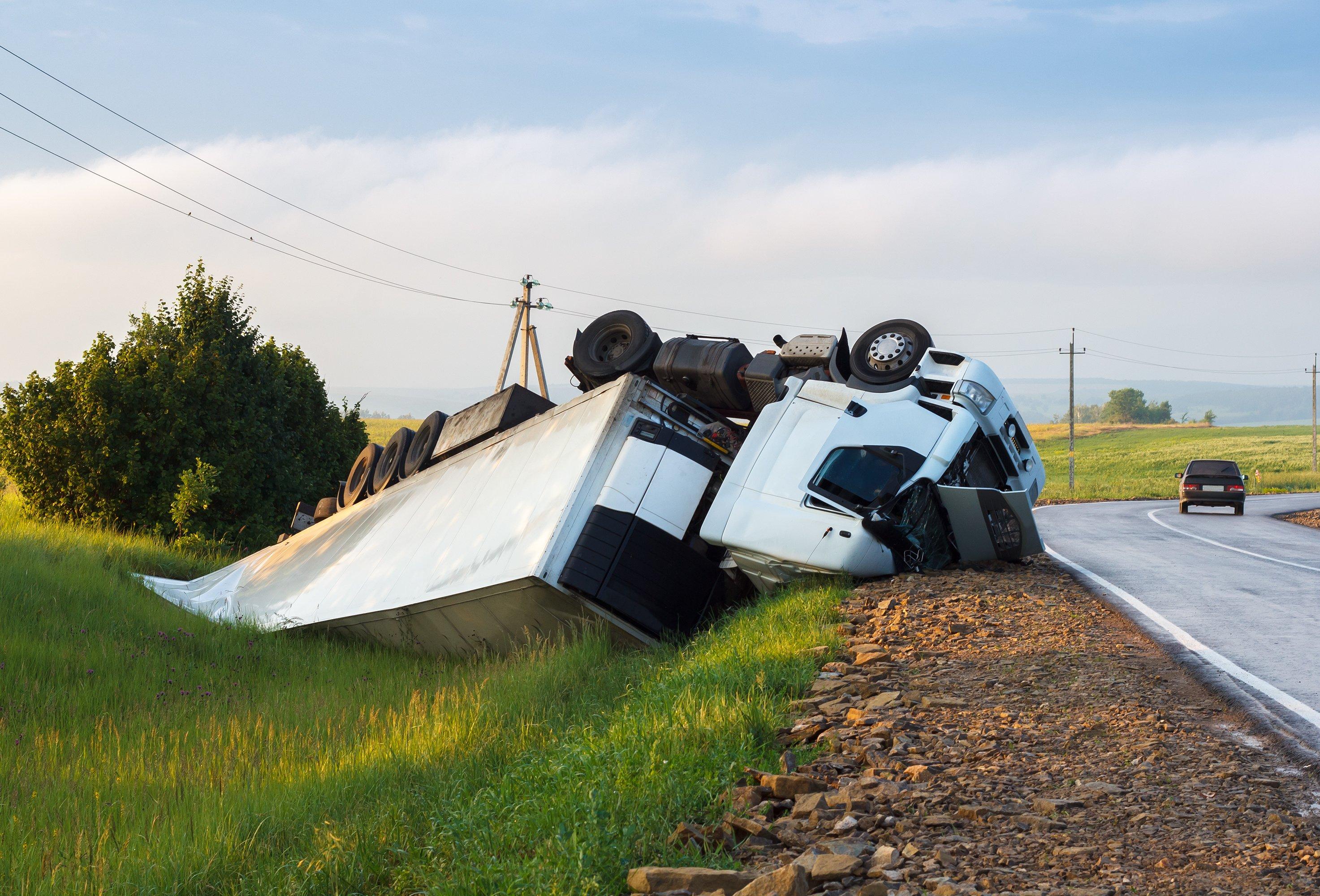 Semi truck crash on freeway